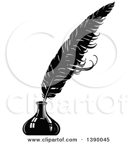clipart of a vintage black and white feather quill in an