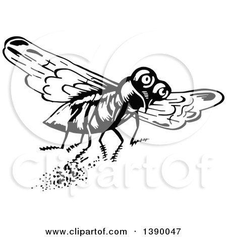 Clipart of a Vintage Black and White Fly - Royalty Free Vector Illustration by Prawny Vintage