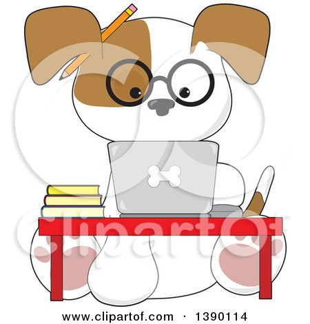 Clipart of a Cartoon Studious Puppy Dog Using a Laptop Computer at a Desk - Royalty Free Vector Illustration by Maria Bell