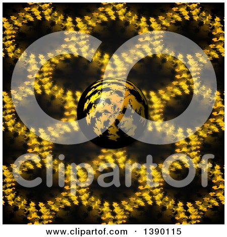 Clipart of a 3d Fractal Sphere Ball over a Pattern - Royalty Free Illustration by oboy