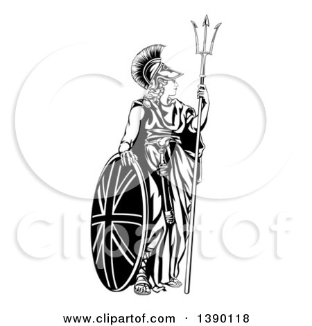 Clipart of a Lady, Britannia, Personification of Britain, Standing with a Union Jack Shield and Holding a Trident - Royalty Free Vector Illustration by AtStockIllustration