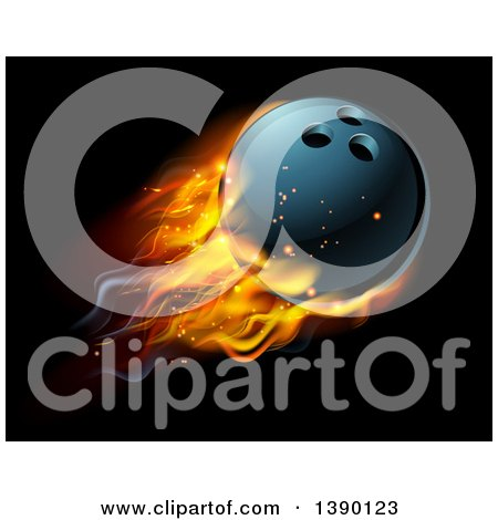 Clipart of a 3d Fiery Bowling Ball Flying over Black - Royalty Free Vector Illustration by AtStockIllustration