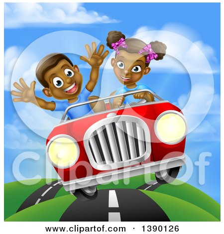 Clipart of a Happy Black Girl Driving a Boy and Catching Air in a Convertible Car - Royalty Free Vector Illustration by AtStockIllustration