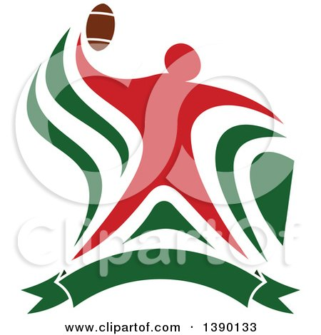 Clipart of a Red Football Player Throwing over a Green Banner - Royalty Free Vector Illustration by Vector Tradition SM