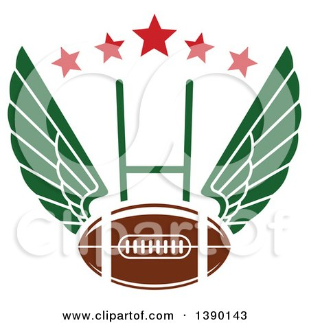 Clipart of a Winged Football over a Field Goal and Stars - Royalty Free Vector Illustration by Vector Tradition SM