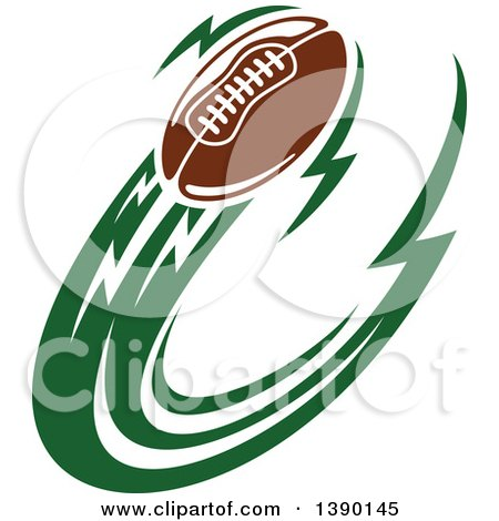 Clipart of a Football Flying with Green Trails - Royalty Free Vector Illustration by Vector Tradition SM