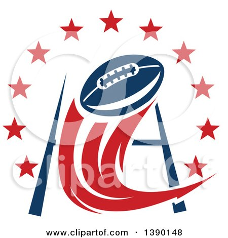 Clipart Of A Football Flying Towards A Field Goal With A Circle Of Stars Royalty Free Vector Illustration
