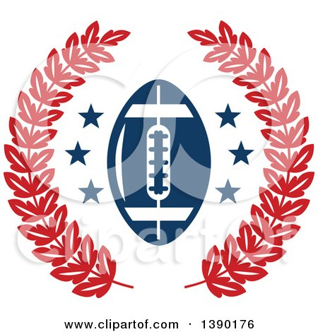 Clipart of a Blue Football and Stars in a Red Wreath - Royalty Free Vector Illustration by Vector Tradition SM