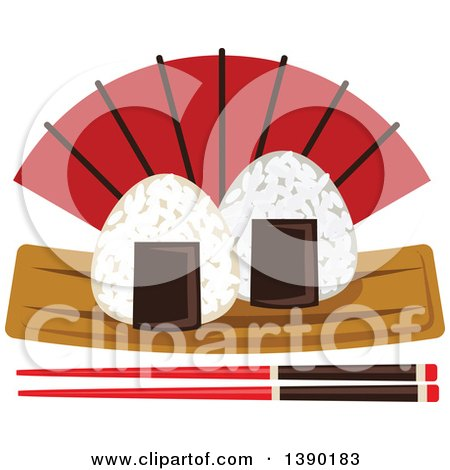 Clipart of a Sushi Rice Balls over a Fan and Chopsticks - Royalty Free Vector Illustration by Vector Tradition SM