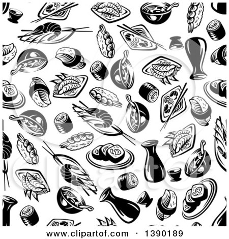 Clipart of a Seamless Background Pattern of Black and White Asian Food and Sushi - Royalty Free Vector Illustration by Vector Tradition SM