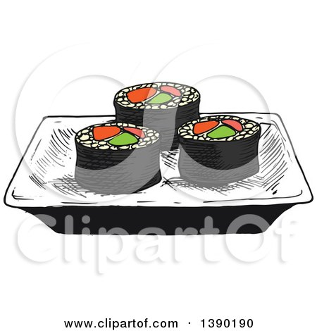 Clipart of a Sketched Plate of Sushi Rolls with Salmon, Avocado and Ginger - Royalty Free Vector Illustration by Vector Tradition SM