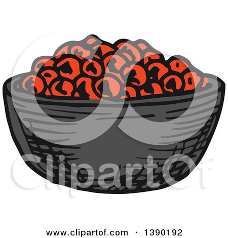 Clipart of a Sketched Bowl of Caviar - Royalty Free Vector Illustration by Vector Tradition SM