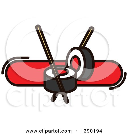 Clipart of a Sushi Roll and Chopsticks Design - Royalty Free Vector Illustration by Vector Tradition SM