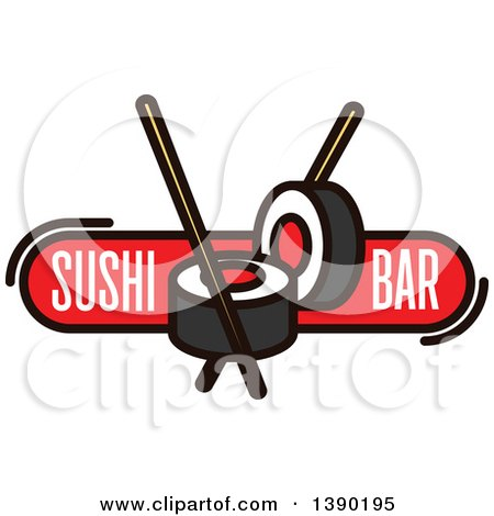 Clipart of a Sushi Roll and Chopsticks Design with Text - Royalty Free Vector Illustration by Vector Tradition SM
