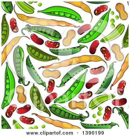 Clipart of a Seamless Background Pattern of Beans, Peas and Peanuts - Royalty Free Vector Illustration by Vector Tradition SM