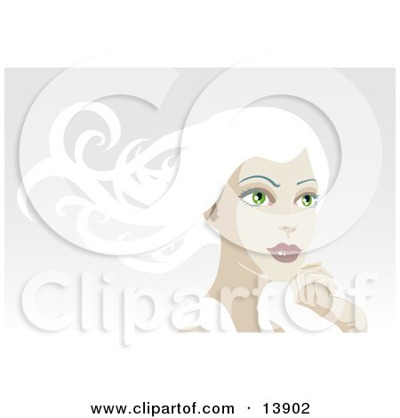 Pretty White Haired Woman Looking Off Into the Distance Clipart Illustration by AtStockIllustration