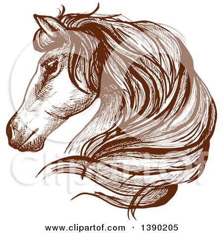 Clipart of a Brown Sketched Horse Head - Royalty Free Vector Illustration by Vector Tradition SM