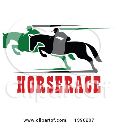 Clipart of Black and Green Silhouetted Jockeys Racing Horses over Red Text - Royalty Free Vector Illustration by Vector Tradition SM
