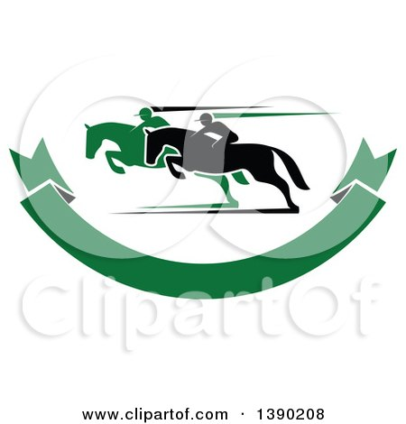 Clipart of Black and Green Silhouetted Jockeys Racing Horses over a Green Banner - Royalty Free Vector Illustration by Vector Tradition SM