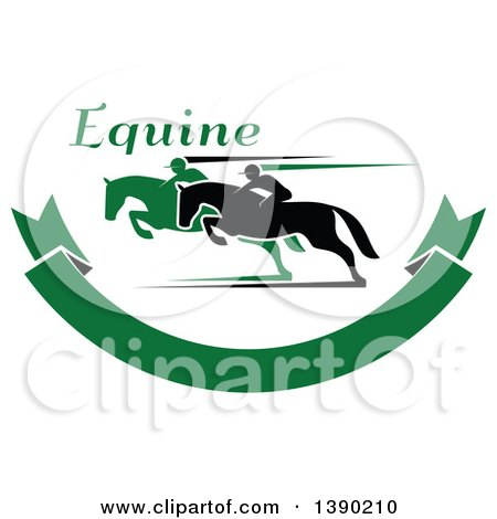 Clipart of Black and Green Silhouetted Jockeys Racing Horses over a Green Banner with Text - Royalty Free Vector Illustration by Vector Tradition SM