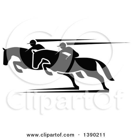 Clipart of Black Silhouetted Jockeys Racing Horses - Royalty Free Vector Illustration by Vector Tradition SM
