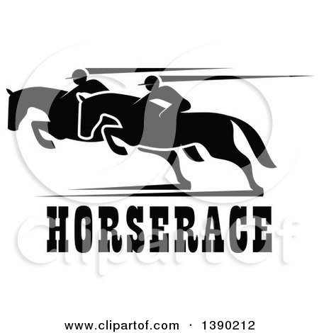 Clipart of Black Silhouetted Jockeys Racing Horses over Text - Royalty Free Vector Illustration by Vector Tradition SM