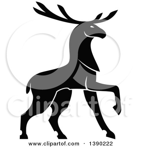 Clipart of a Black Silhouetted Bull Elk - Royalty Free Vector Illustration by Vector Tradition SM