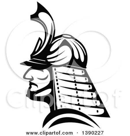 Clipart of a Black and White Profiled Japanese Samurai Warrior - Royalty Free Vector Illustration by Vector Tradition SM