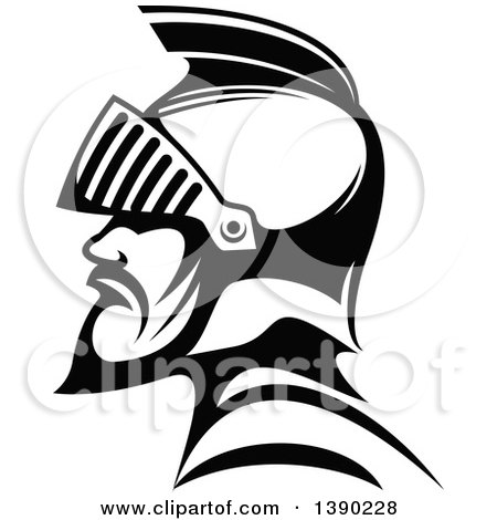 Clipart of a Black and White Profiled Medieval Knight - Royalty Free Vector Illustration by Vector Tradition SM