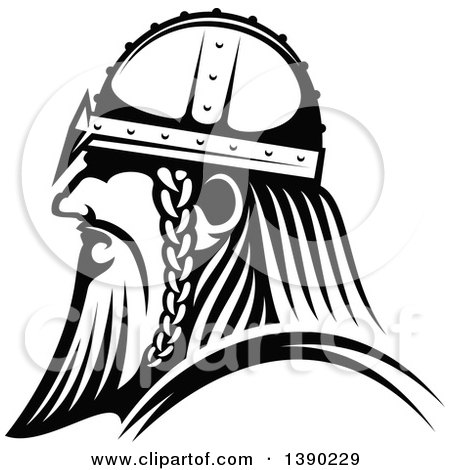 Clipart of a Black and White Profiled Viking Warrior - Royalty Free Vector Illustration by Vector Tradition SM