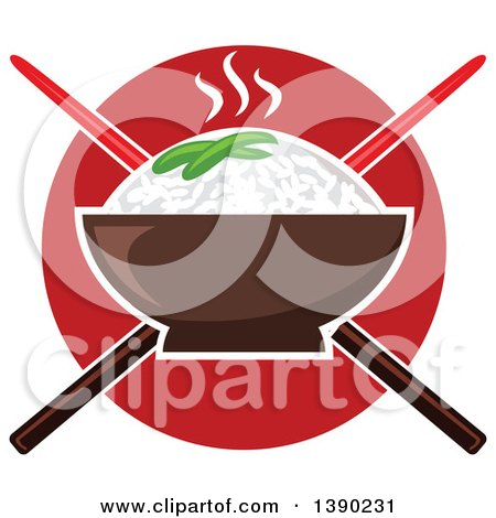 Clipart of a Bowl of Hot Rice over Crossed Chopsticks and a Red Circle - Royalty Free Vector Illustration by Vector Tradition SM