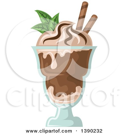Clipart of a Mint and Chocolate Ice Cream Sundae Dessert - Royalty Free Vector Illustration by Vector Tradition SM