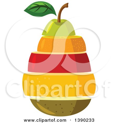 Clipart of a Stack of Fruits - Royalty Free Vector Illustration by Vector Tradition SM