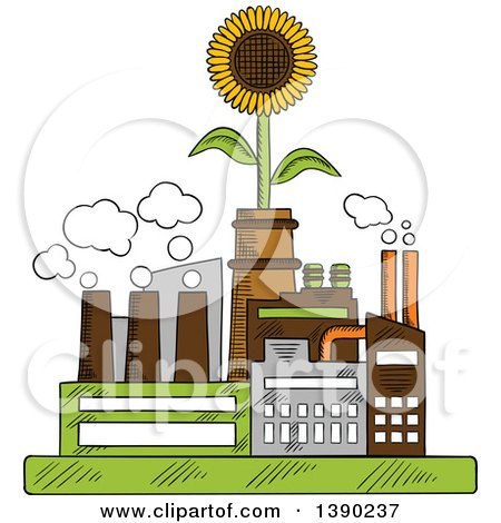 Clipart Of A Sketched Eco Friendly Factory Complex With A Sunflower Royalty Free Vector Illustration
