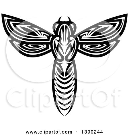 Clipart of a Black and White Tribal Styled Wasp - Royalty Free Vector Illustration by Vector Tradition SM