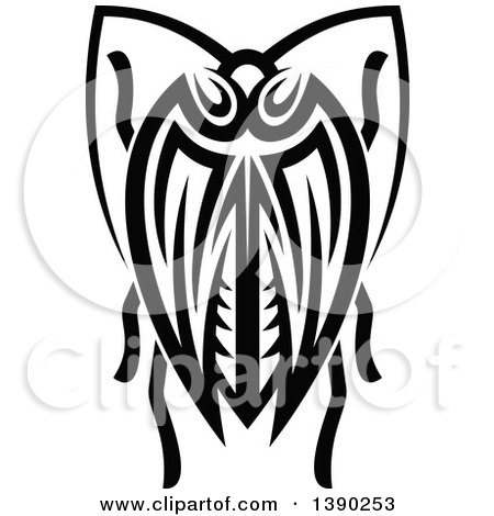 Clipart of a Black and White Tribal Styled Beetle - Royalty Free Vector Illustration by Vector Tradition SM