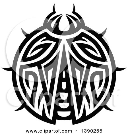 Clipart of a Black and White Tribal Styled Ladybug - Royalty Free Vector Illustration by Vector Tradition SM