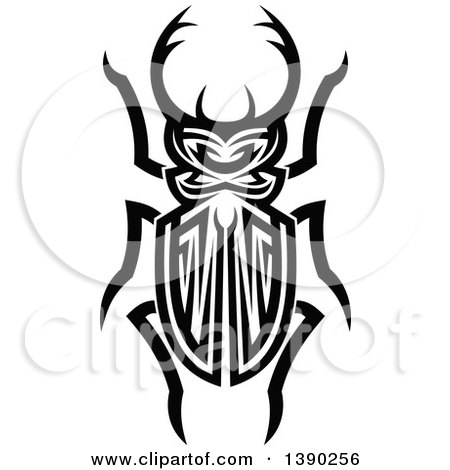 Clipart of a Black and White Tribal Styled Stag Beetle - Royalty Free Vector Illustration by Vector Tradition SM