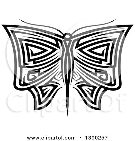 Clipart of a Black and White Tribal Styled Butterfly or Moth - Royalty Free Vector Illustration by Vector Tradition SM