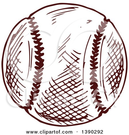 Clipart of a Sketched Baseball - Royalty Free Vector Illustration by Vector Tradition SM