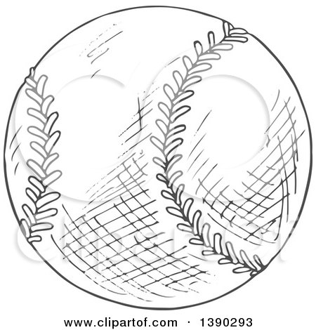 Clipart of a Gray Sketched Baseball - Royalty Free Vector Illustration by Vector Tradition SM