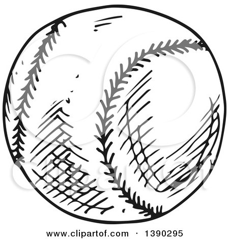 Clipart of a Sketched Gray Baseball - Royalty Free Vector Illustration by Vector Tradition SM
