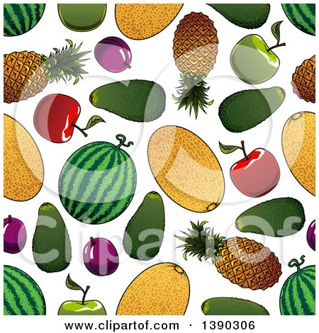 Clipart of a Seamless Background Pattern of Fruits - Royalty Free Vector Illustration by Vector Tradition SM
