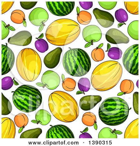Clipart of a Seamless Background of Melons, Apricots, Apples, and Plums - Royalty Free Vector Illustration by Vector Tradition SM
