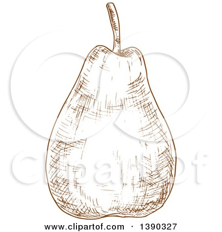 Clipart of a Brown Sketched Pear - Royalty Free Vector Illustration by Vector Tradition SM