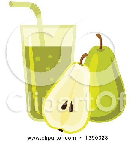 Clipart of a Glass of Juice and Pears - Royalty Free Vector Illustration by Vector Tradition SM