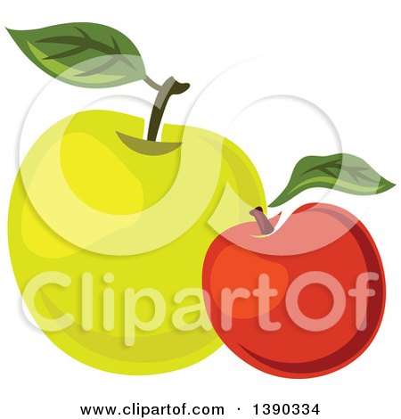 Clipart of Red and Green Apples - Royalty Free Vector Illustration by Vector Tradition SM
