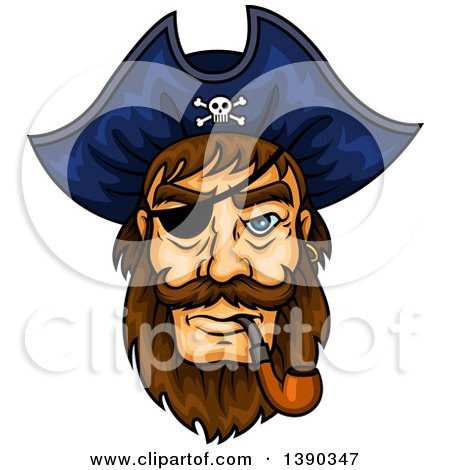 Clipart of a Brunette White Pirate Captain Wearing an Eye Patch and Smoking a Pipe - Royalty Free Vector Illustration by Vector Tradition SM
