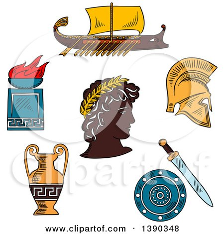 Clipart of a Sketched Greek Emperor, Amphora, Soldier Helmet, Shield, Sword, Fire Bowl and Warship Galley - Royalty Free Vector Illustration by Vector Tradition SM