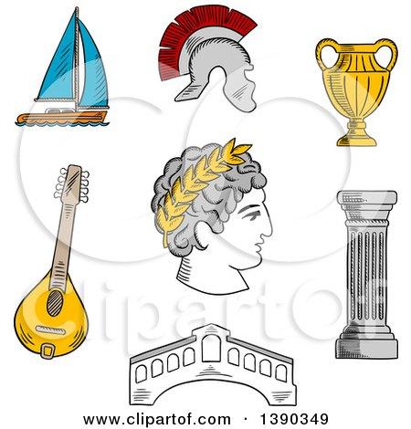 Clipart of a Sketched Italian Caesar, Roman Helmet, Venice Bridge, Ancient Vase, Mandolin, Doric Column and Sailboat - Royalty Free Vector Illustration by Vector Tradition SM